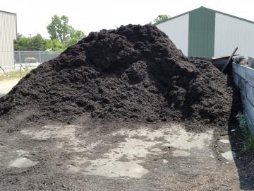 One of two bulk mulches sold at Adams Nursery & Landscaping in Paragould, AR.  This black mulch is sold by the 1/2 cu yd scoop.